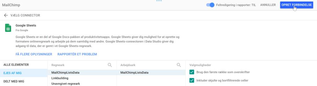 opret forbindelse mellem mailchimp og data studio
