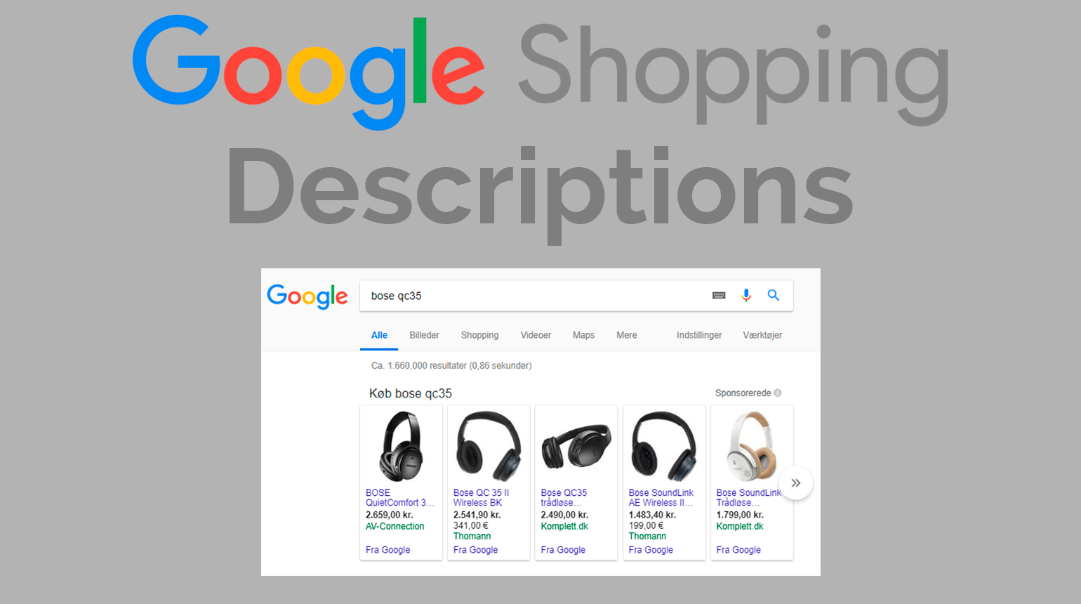 google shopping description