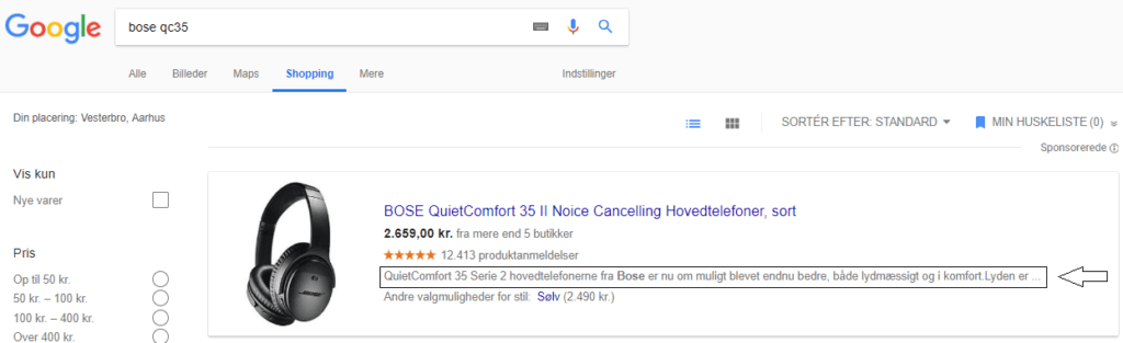Google shopping description optimering