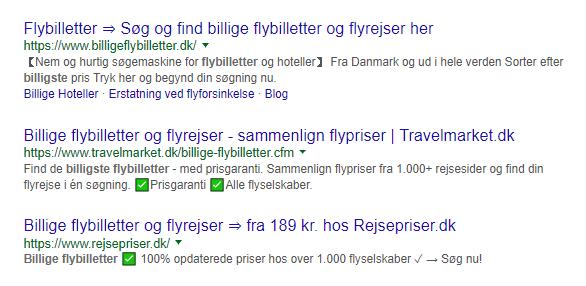 søgning på billige flybiletter